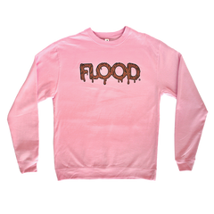 FLOOD Gold Logo Pink Crewneck Sweatshirt