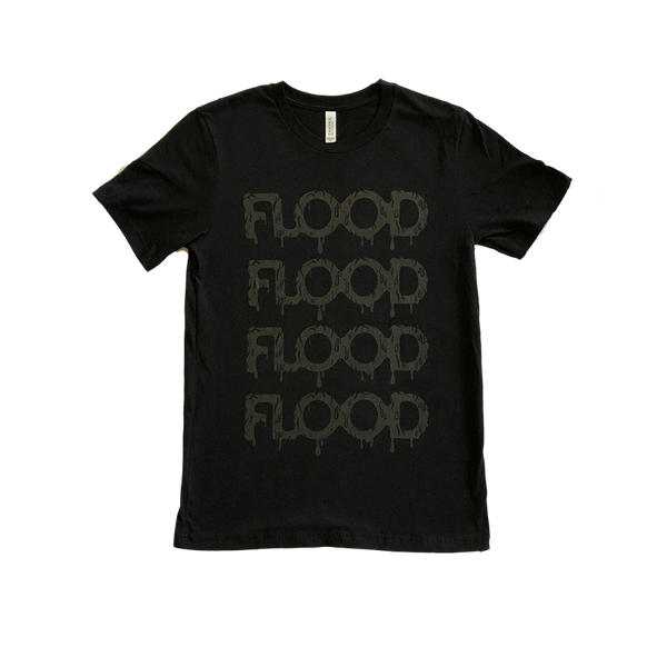 FLOOD Black Logo Black Tee