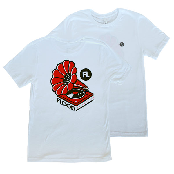 FLOOD Record Player White Tee