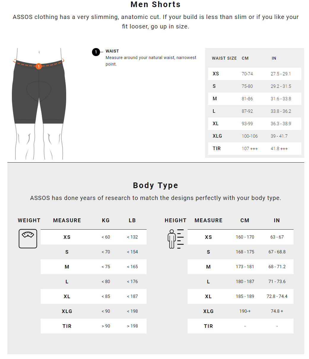 Assos Men's Shorts Size Guide