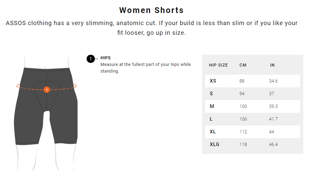 Assos Women's Shorts Size Guide