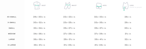 Peppermint Women's Cycling Clothing Size Guide