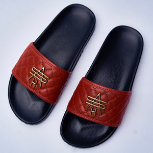 RED QUILTED LEATHER SLIDES