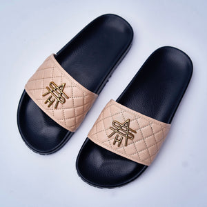 APRICOT QUILTED LEATHER SLIDES