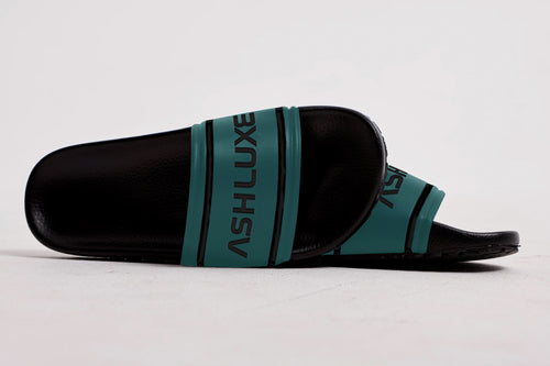 TEAL LUXURY LEATHER SLIDES