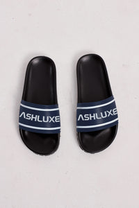 NAVY LUXURY LEATHER SLIDES