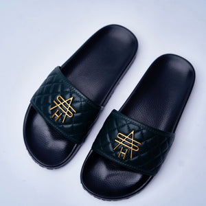 GREEN QUILTED LEATHER SLIDES
