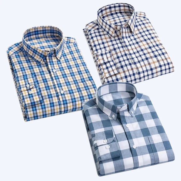 Combo of 3 Men Checkered Slim Fit Shirts