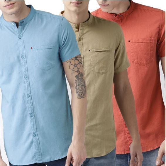 Pack of 3 Men Shirts Half Sleeves