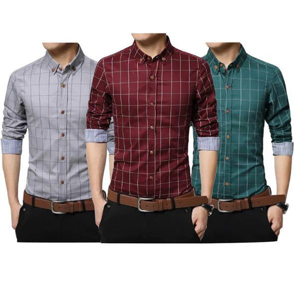 3 Men Slim Fit Shirts Color Red Green Grey