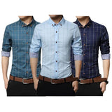 3 Men Slim Fit Shirts Color Sky Blue Green Blue