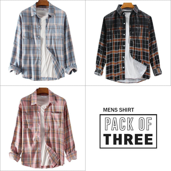 Combo Of 03 Men Breathable Long Sleeve Shirts
