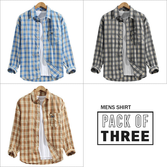 Combo Of 03 Mens Patch Pocket Breathable Long Sleeve Shirts