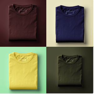 Pack of 4 Round Neck Half Sleeve T-shirts