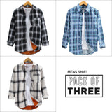 Combo Of 03 Mens  Colorful Stripe Patch Pocket Breathable Long Sleeve Shirts