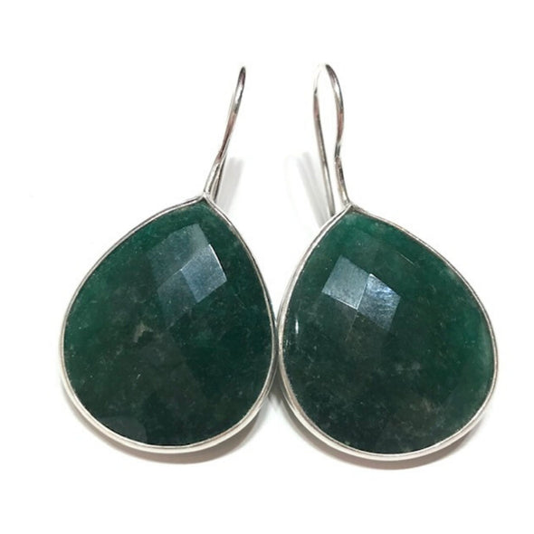 Sterling Silver Emerald Dangle Earrings