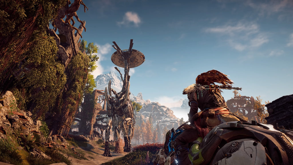 Aloy riding a controlled maching