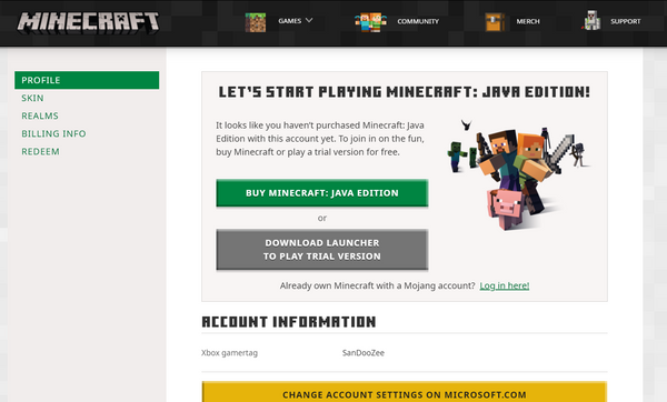 minecraft account page