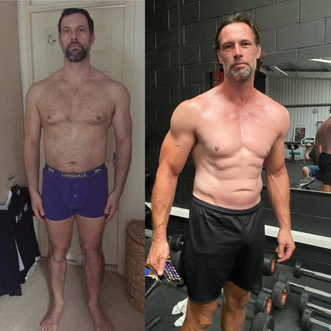Topless man weight loss transformation