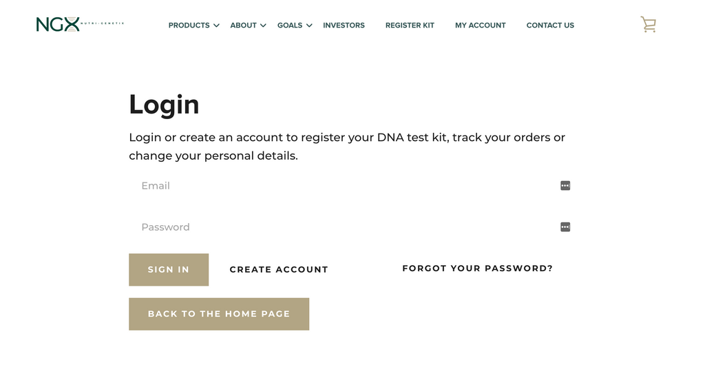Account Log in page
