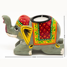 Load image into Gallery viewer, HandPainted Elephant Tealight Holder - Grey - Diwali Gift