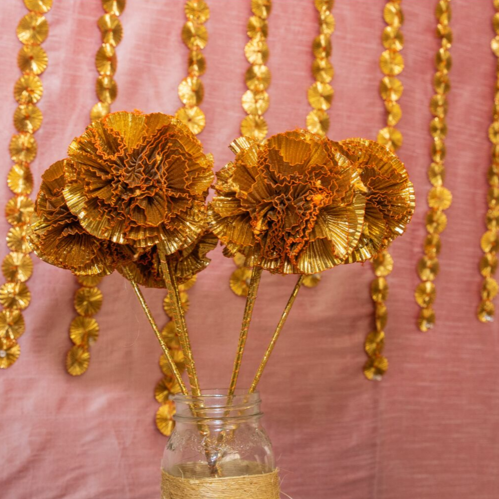 Golden Gota Flowers for a Vase(Set of 3)