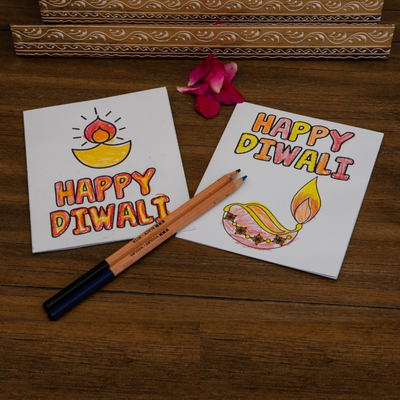 Diwali Coloring Cards for Kids