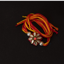 Load image into Gallery viewer, Cute Orange Kundan Rakhi for your brother with Traditional Thread