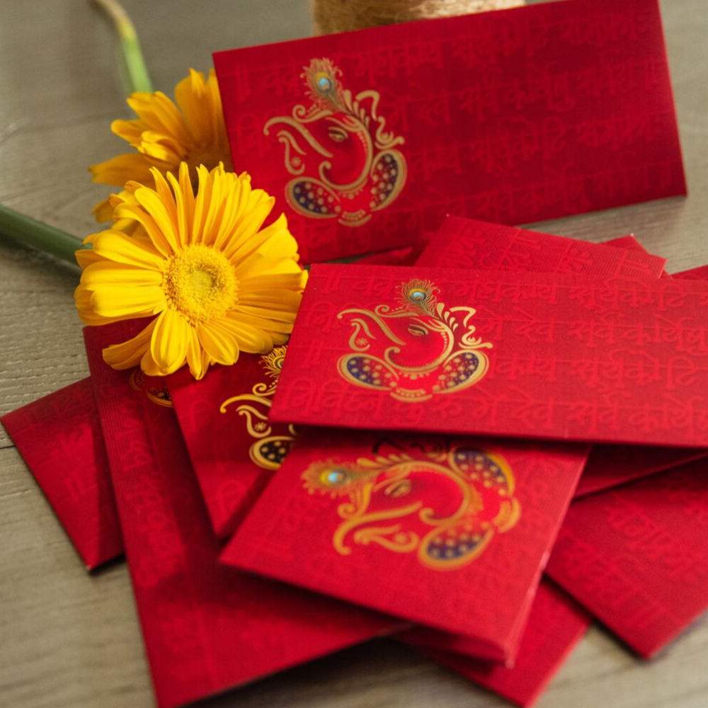 Eye-Catching Red Ganesha Shagun/Money/Cash Envelopes(Set of 10)
