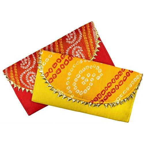 Shagun Brocade Money Envelopes for Weddings/Christmas/Diwali - Pack of 2 Envelopes (Red, and Yellow, Decorated) : Office Products