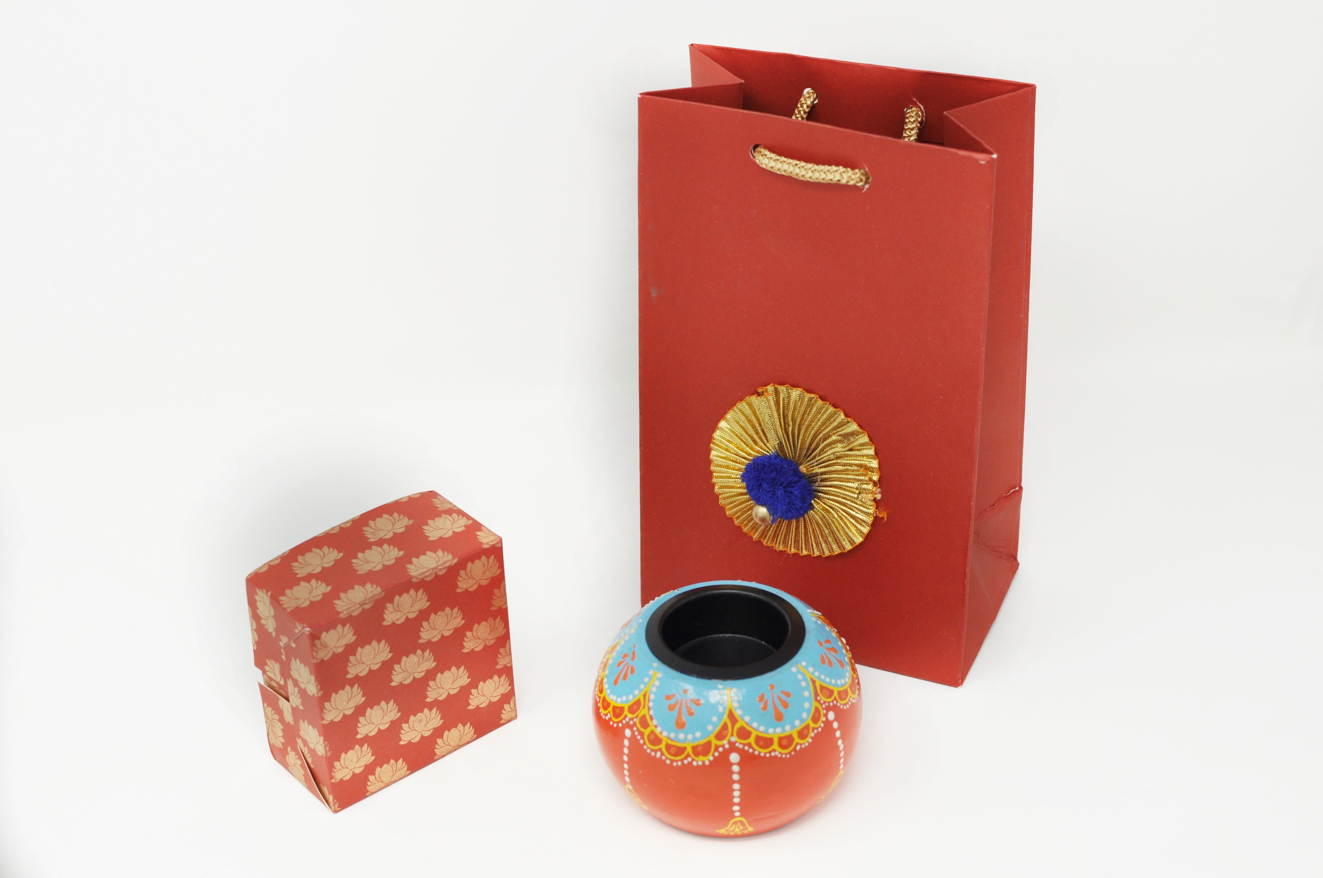 One Henna Painted Red Color Tealight Holder +One  Favor Box + One Favor Bag