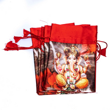Load image into Gallery viewer, Red Silk Ganesha Potli Bags