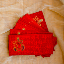 Load image into Gallery viewer, Eye-Catching Red Ganesha Shagun Envelopes(Set of 10)