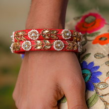 Load image into Gallery viewer, Mehendi Ready Gift Pack - Raw silk bangles + Pouch