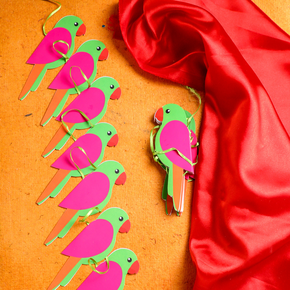Indian Themed Parrot Garlands for Decorations (Set of 2)