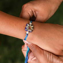 Load image into Gallery viewer, Blue Kundan Rakhi with Blue Thread