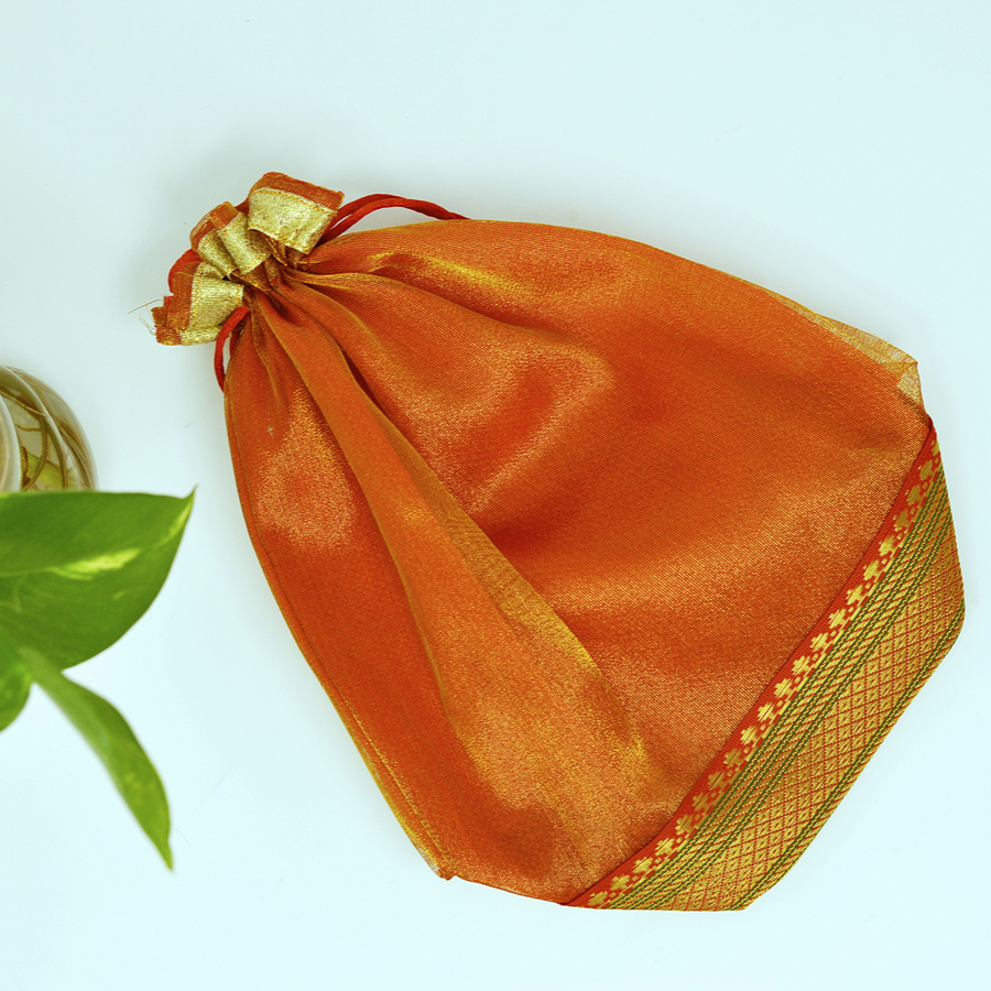 Brown Organza Bags for Gifting - Set of 4