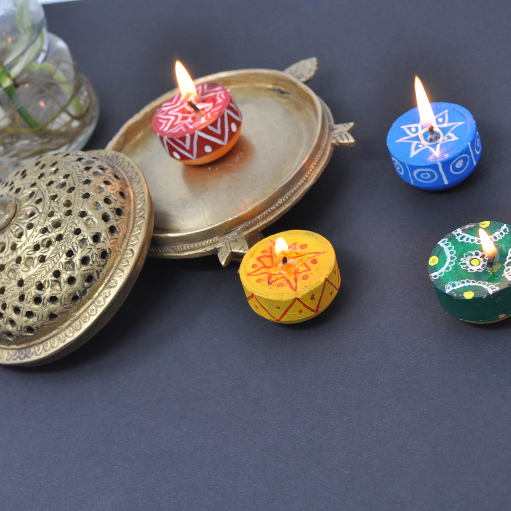 Handpainted Matki Candles(Set of 12)