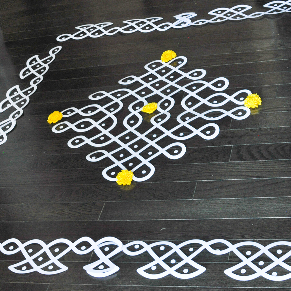 Traditional Muggu(Kolam) Border+Muggu Cutouts with Dots