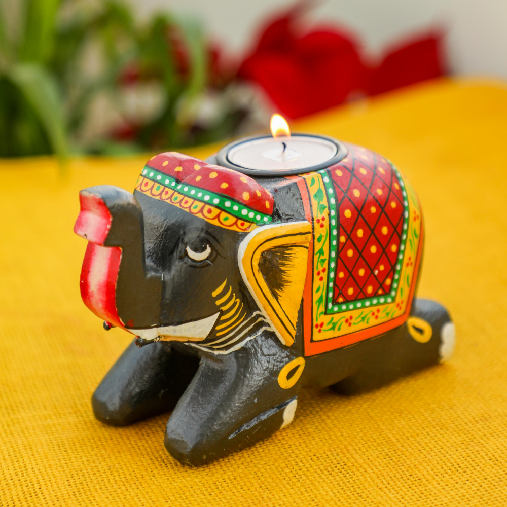 Hand Painted Elephant Tealight Holder- Diwali Gift