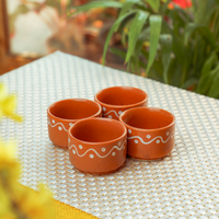 Indian Traditional Hand Painted Small Sauce/Chutney Cups - (Set of 4)