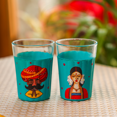 Hand painted Chai glasses(Set of 2)
