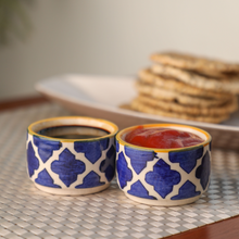 Load image into Gallery viewer, Indigo Small Sauce/Chutney  Cups - (Set of 4)