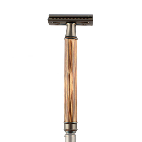 Bamboo Handle Chrome Safety Razor-shavercentre.com.au