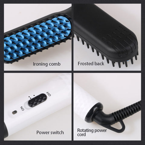 White Ceramic Hair Straightening Brush-shavercentre.com.au