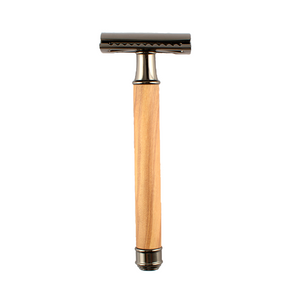Chrome Olive Wood Safety Razor + Blade With Box-shavercentre.com.au