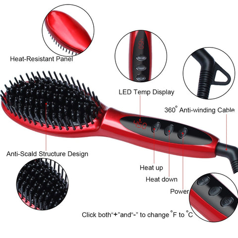 LCD Display Hair Straightener Brush-shavercentre.com.au