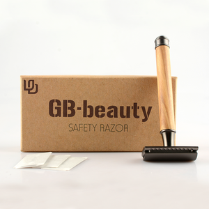 Chrome Olive Wood Safety Razor + Blade With Box