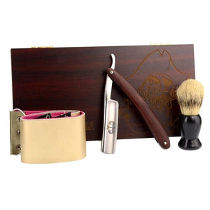Cut Throat Razor Gift Set - Redwood Handle