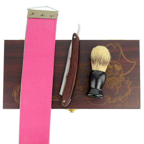 Cut Throat Razor Gift Set - Redwood Handle-shavercentre.com.au